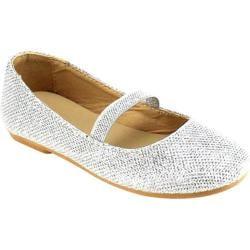 Girls' Beston Demi-07K Mary Jane Silver Glitter Faux Leather