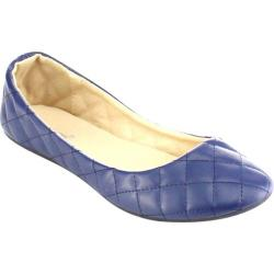 Women's Beston Demi-09 Slip On Flat Navy Faux Leather