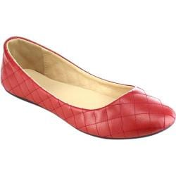 Women's Beston Demi-09 Slip On Flat Red Faux Leather