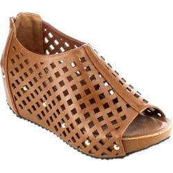 Women's Beston Elva-08 Caged Wedge Sandal Tan Faux Leather