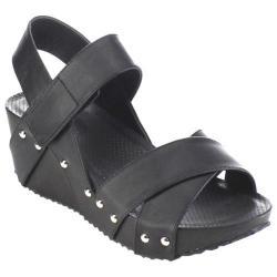 Women's Beston Elva-10 Strappy Wedge Sandal Black Faux Leather