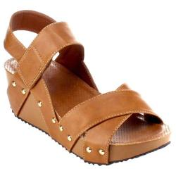 Women's Beston Elva-10 Strappy Wedge Sandal Camel Faux Leather