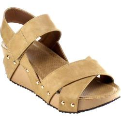 Women's Beston Elva-10 Strappy Wedge Sandal Taupe Faux Leather