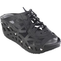 Women's Beston Elva-9 Strappy Wedge Sandal Black Faux Leather