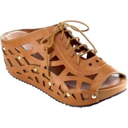 Women's Beston Elva-9 Strappy Wedge Sandal Camel Faux Leather