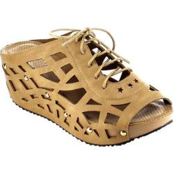 Women's Beston Elva-9 Strappy Wedge Sandal Taupe Faux Leather