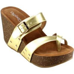 Women's Beston Mara-01 Wedge Sandal Champagne Faux Leather