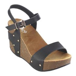 Women's Beston Mara-09 Wedge Sandal Black Faux Leather