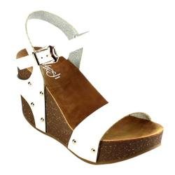Women's Beston Mara-09 Wedge Sandal White Faux Leather