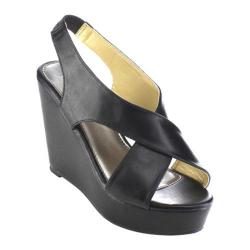 Women's Beston Olay-02 Wedge Slingback Black Faux Leather