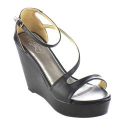 Women's Beston Olay-03 Wedge Ankle Strap Sandal Black Faux Leather