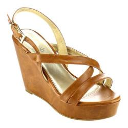 Women's Beston Olay-06 Strappy Wedge Sandal Tan Faux Leather