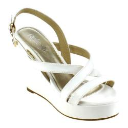 Women's Beston Olay-06 Strappy Wedge Sandal White Faux Leather