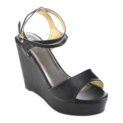 Women's Beston Olay-07 Ankle Strap Wedge Sandal Black Faux Leather