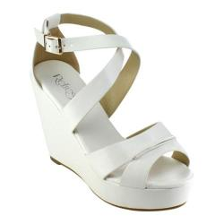 Women's Beston Olay-08 Strappy Wedge Sandal White Faux Leather