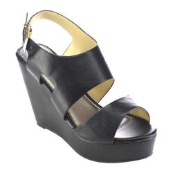Women's Beston Olay-10 Slingback Wedge Sandal Black Faux Leather
