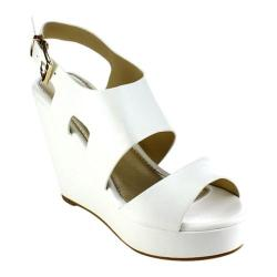 Women's Beston Olay-10 Slingback Wedge Sandal White Faux Leather