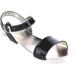 Women's Beston Regina-01 Ankle Strap Sandal Black PVC