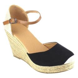 Women's Beston Sandra-01 Espadrille Wedge Sandal Black Faux Suede/Fabric