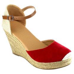 Women's Beston Sandra-01 Espadrille Wedge Sandal Red Faux Suede/Fabric