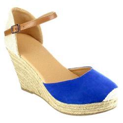 Women's Beston Sandra-01 Espadrille Wedge Sandal Royal Blue Faux Suede/Fabric