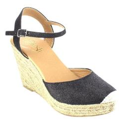 Women's Beston Sandra-03 Espadrille Wedge Sandal Black Glittered Faux Leather