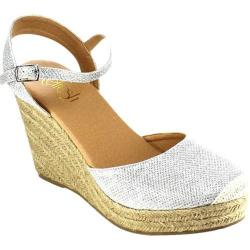 Women's Beston Sandra-03 Espadrille Wedge Sandal Silver Glittered Faux Leather