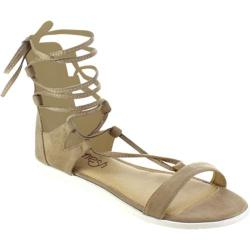 Women's Beston Wanda-01 Strappy Lace Up Sandal Taupe Faux Suede