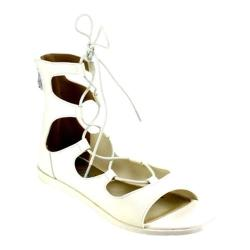 Women's Beston Wanda-02 Strappy Lace Up Sandal White Faux Leather
