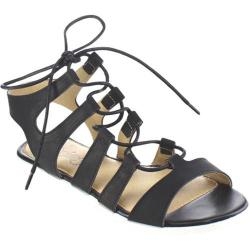 Women's Beston Wanda-03 Strappy Lace Up Sandal Black Faux Leather