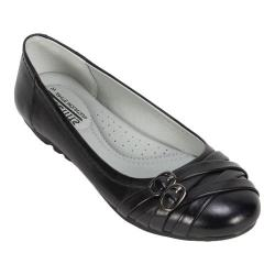 Women's Cliffs by White Mountain Boyfriend Ballet Flat Black Burnished Smooth Synthetic