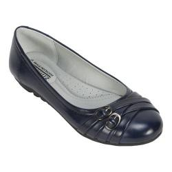 Women's Cliffs by White Mountain Boyfriend Ballet Flat Navy Burnished Smooth Synthetic