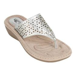 Women's Cliffs by White Mountain Caviar Thong Wedge Sandal Silver/Metallic Smooth Synthetic