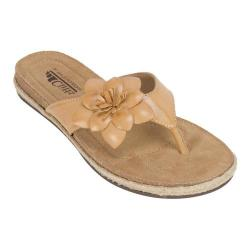 Women's Cliffs by White Mountain Paint Thong Sandal Honey Smooth Synthetic