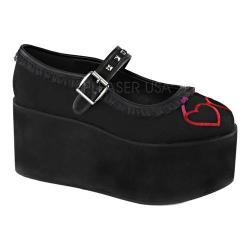 Women's Demonia Click 02-1 Mary Jane Black Canvas