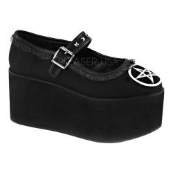 Women's Demonia Click 02-2 Mary Jane Black Canvas