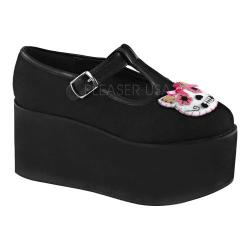 Women's Demonia Click 04-1 T-Strap Black Canvas