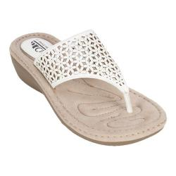 Women's Cliffs by White Mountain Caviar Thong Wedge Sandal White Smooth Synthetic