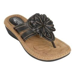 Women's Cliffs by White Mountain Cupcake Thong Wedge Sandal Black Smooth  Synthetic