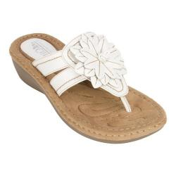 Women's Cliffs by White Mountain Cupcake Thong Wedge Sandal White Smooth Synthetic