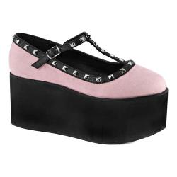Women's Demonia Click 07 T-Strap Baby Pink Canvas/Black Vegan Leather