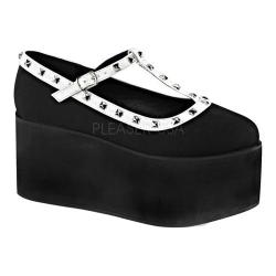 Women's Demonia Click 07 T-Strap Black Canvas/White Vegan Leather