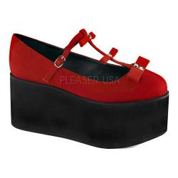 Women's Demonia Click 08 T-Strap Red Canvas