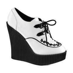Women's Demonia Creeper 302 Wedge Oxford White/Black Vegan Leather