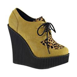 Women's Demonia Creeper 304 Wedge Oxford Mustard Vegan Suede/Leopard Ponly Hair