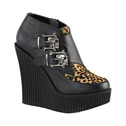 Women's Demonia Creeper 306 Wedge Monkstrap Black Vegan Leather/Leopard Pony Hair