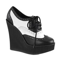 Women's Demonia Creeper 307 Wedge Oxford Black/White Vegan Leather