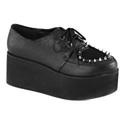 Women's Demonia Grip 02 Creeper Black Vegan Leather/Faux Pony