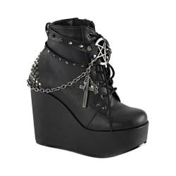 Women's Demonia Poison 101 Ankle Boot Black Vegan Leather
