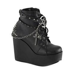 Women's Demonia Poison 101 Ankle Boot Black Vegan Leather